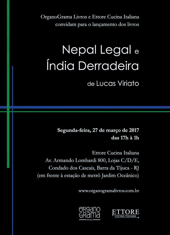 Lançamento dos livros Nepal Legal e Índia Derradeira de Lucas Viriato