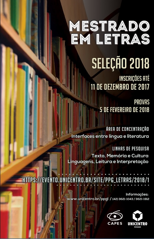 Seleção 2018 do Programa de Pós Graduação – Mestrado em Letras da Unicentro